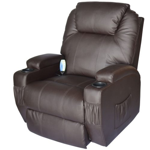 HomCom Deluxe Massage Recliner Chair (Heated Vibrating PU Leather)