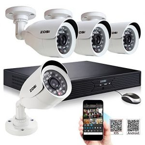 ZOSI 4CH Full D1 960H HD DVR 4PCS 800TVL HD Security Camera