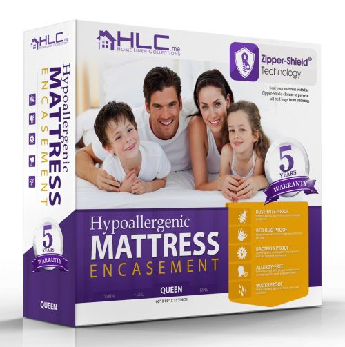 100% Waterproof & Bed Bug Proof Encasement - Breathable - Dust Mite Proof Mattress Protector - 5 Year Warranty - Full Size