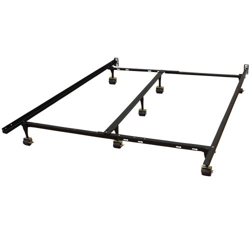 Hercules Universal Heavy Duty Adjustable Metal Bed Frame with Double Rail Center Bar and 7-Locking Rug Rollers, Queen Twin Twin X-Large Full Full X-Large King California King, Black