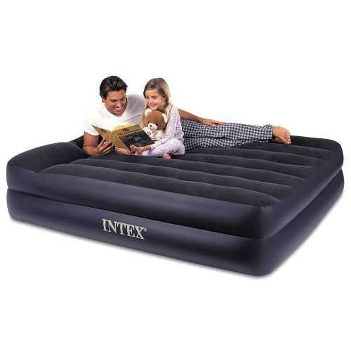 Intex Pillow Rest Raised Airbed with Built-in Pillow and Electric Pump, Queen, Bed Height 16 1 2