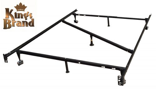 King's Brand 7-Leg Heavy Duty Adjustable Metal Bed Frame with Center Support Rug Rollers and Locking Wheels, Queen
