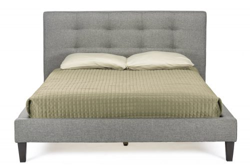 Baxton Studio Quincy Linen Platform Bed, Full, Gray