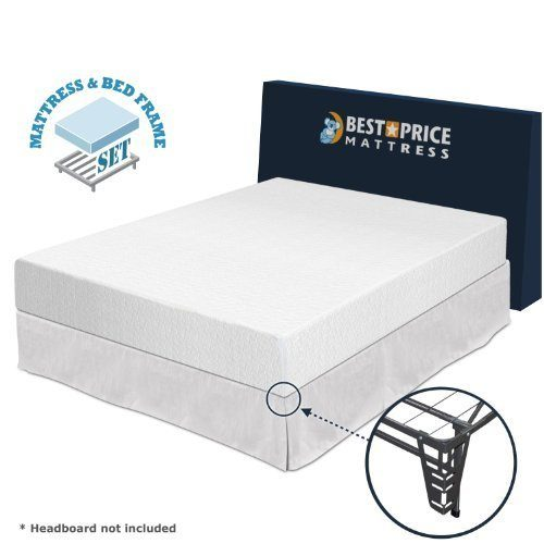 Best Price Mattress 10-Inch Memory Foam Mattress and Platform Metal Bed Frame Set, Full
