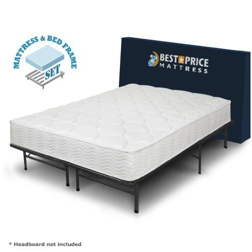 Best Price Mattress 8-Inch Tight Top iCoil Spring Mattress and Metal Platform Bed Frame Set, Queen