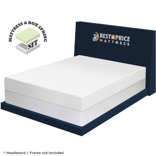 Best Price Mattress 8 Memory Foam Mattress & New Innovative Box Spring Set, Full, White