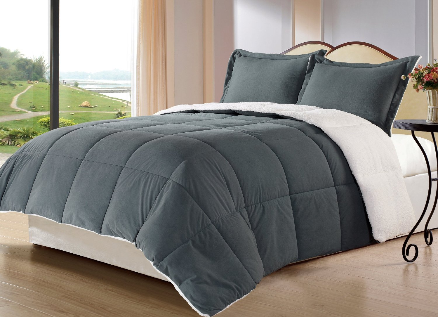reviews king collection micromink comforter sherpa down review piece reversible alternative chezmoi set