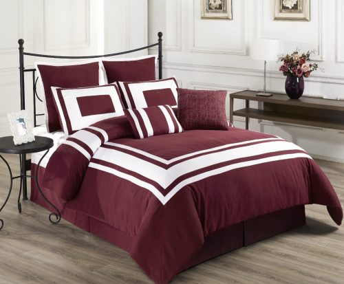 Cozy Beddings Lux Decor Collection 8-Piece Comforter Set with White Stripes, Queen, Red Burgundy