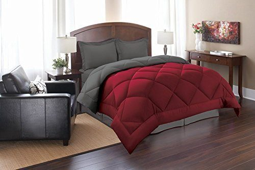 Elegant Comfort Goose Down Alternative Reversible 2pc Comforter Set, Twin, Red Gray