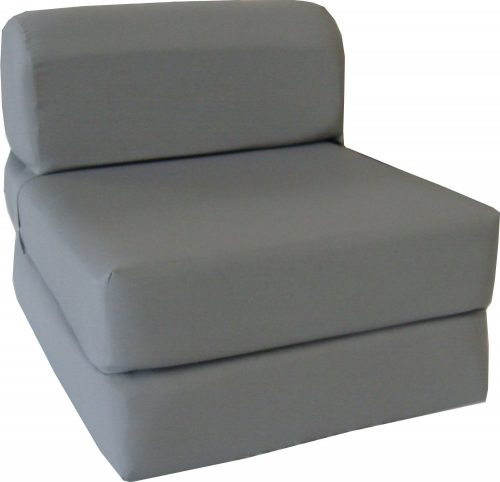 Gray Sleeper Chair Folding Foam Bed Sized 6 Thick X 32 Wide X 70 Long, Studio Guest Foldable Chair Beds, Foam Sofa, Couch, High Density Foam 1.8 Pounds.