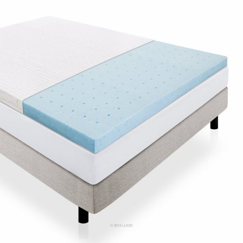 LUCID 2.5 Inch Gel Infused Ventilated Memory Foam Mattress Topper with Removable Bamboo Cover 3-Year Warranty - Queen Size