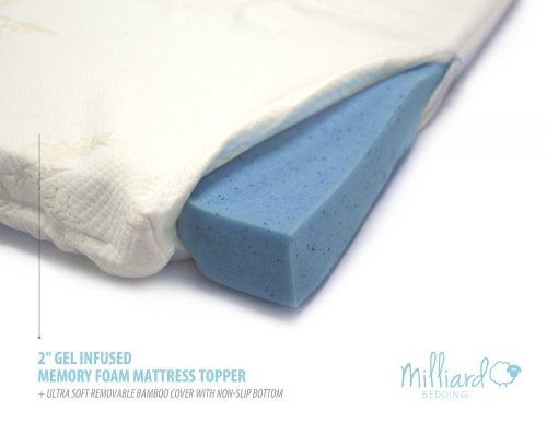 MILLIARD 2 Gel Infused Memory Foam Mattress Topper + Ultra Soft Removable Bamboo Cover with Non-Slip Bottom Full 73x52x2