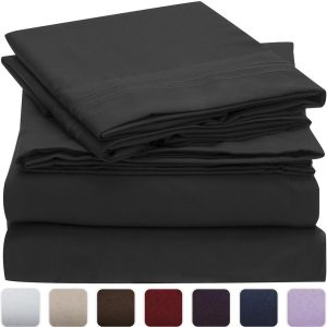 Mellanni Bed Sheet Set - HIGHEST QUALITY Brushed Microfiber 1800 Bedding - Wrinkle, Fade, Stain Resistant - Hypoallergenic - 3 Piece (Twin XL, Black)