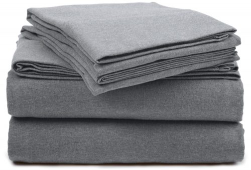 Pinzon Heather Jersey Sheet Set - Twin Extra-Long, Light Grey Heather