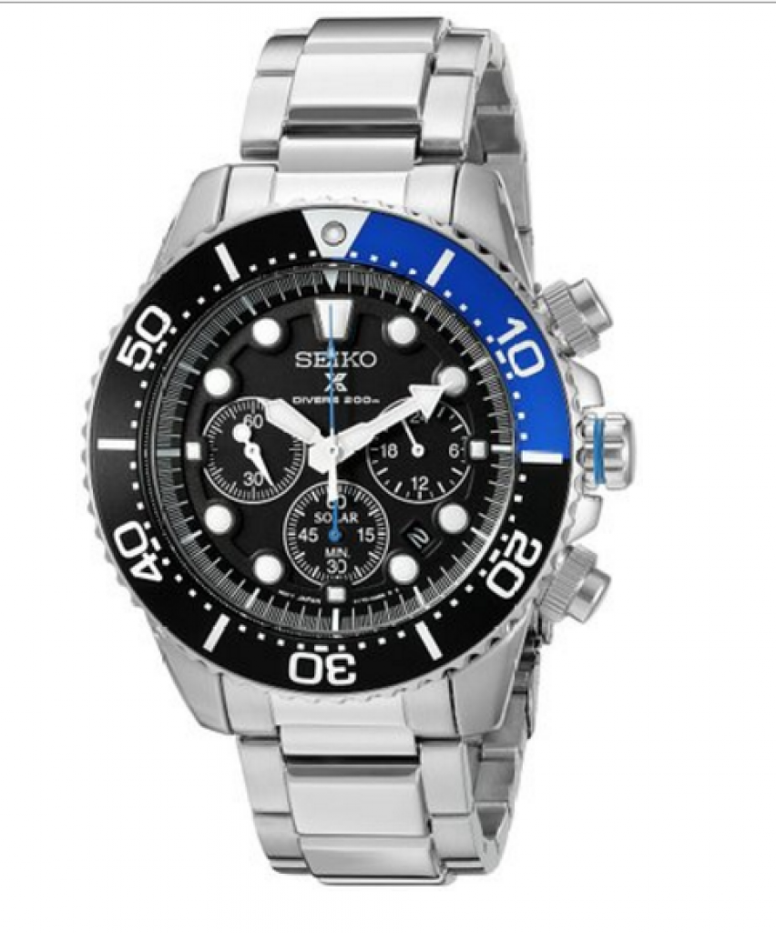The Seiko Men's SSC017 Prospex Solar Steel Dive Watch
