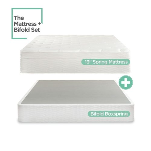 Sleep Master iCoil 13 Inch Euro Top Spring Mattress and BiFold Box Spring Set, Full
