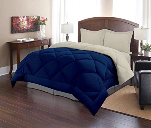 Sweet Home Collection 3 Piece Reversible Polyester Microfiber Goose Down Alternative Comforter Set with Pillow Shams, King, Stone Blue