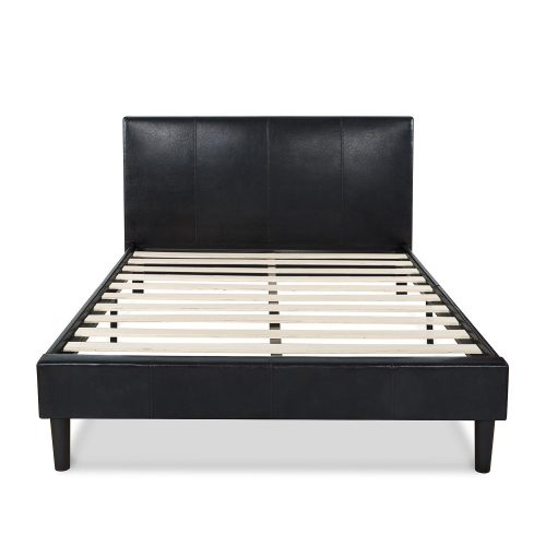 Zinus Deluxe Faux Leather Upholstered Platform Bed with Wooden Slats, Full