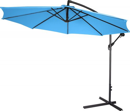 10' Deluxe Polyester Offset Patio Umbrella by Trademark Innovations (Teal