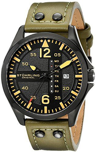 Stuhrling Original Men's 699.03 Aviator Quartz Watch With Green Leather Band