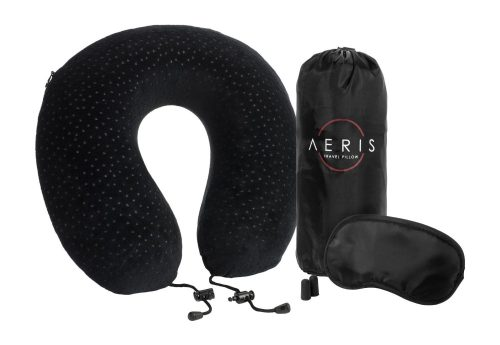 Aeris Memory Foam Travel Neck Pillow with Sleep Mask, Earplugs, Carry Bag, Adjustable Toggles and Velour Cover, Black