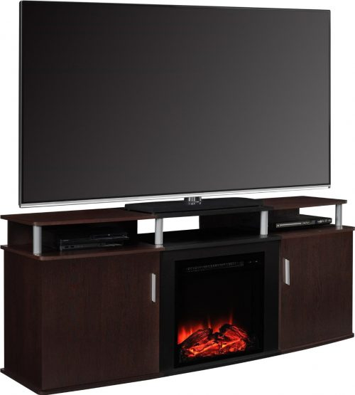 Altra Furniture Carson Fireplace TV Console, 70, Cherry Black