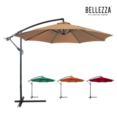 Bellezza© Premium Patio Umbrella 10' Feet Patio Tilt W Crank Outdoor Cantilever, Beige