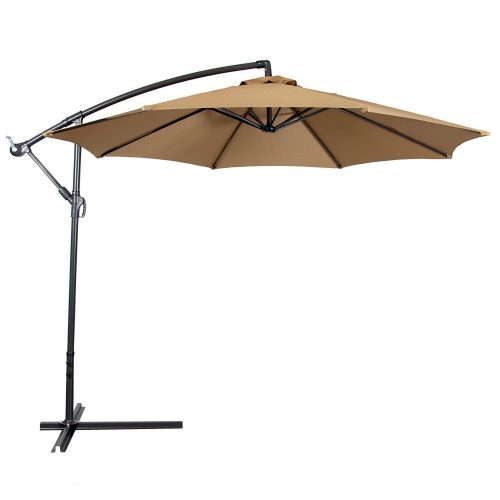 Best Choice Products® Patio Umbrella Offset 10' Hanging Umbrella Outdoor Market Umbrella Tan New