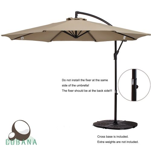 COBANA 10 Ft Patio Umbrella Offset Hanging Umbrella Outdoor Market Umbrella Garden Umbrella, 250g sqm Polyester, Beige
