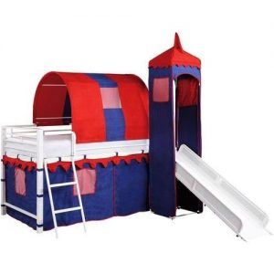 Castle Tent Twin Loft Bed Slide Playhouse w Under Bed Storage Red White & Blue