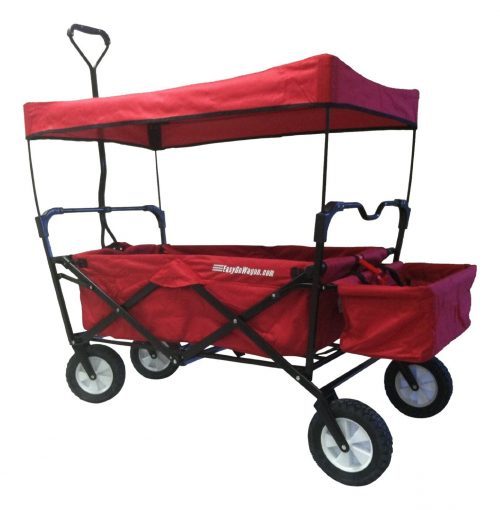 EasyGoWagon Folding Collapsible Utility Wagon Fits in Trunk of Standard Car, Red