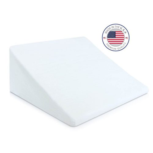 Eva Medical Wedge Bed Pillow 24 x 24 x 7.5 with white pillow cover (MADE IN USA)