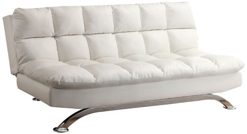 Furniture of America Ethel Leatherette Convertible Sofa, White