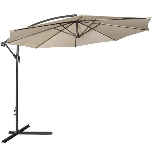 Giantex 10ft Outdoor Patio Sun Shade Umbrella Hanging Offset Crank W Corss Base Garden Beige
