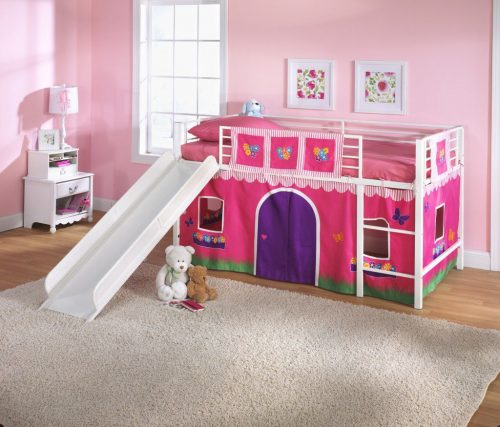 S Loft Bed With Slide Princess Tent Canopy Castle Twin Curtain Bunk
