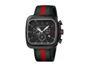 5e48279aa46 Gucci Men s YA131202 Coupe Black Stainless Steel Watch with Striped Nylon  Strap