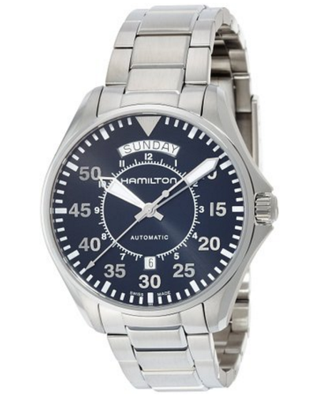 Hamilton Men's 'Khaki Aviation' Swiss Automatic Stainless Steel Dress Watch, Color Silver-Toned Model H64615135