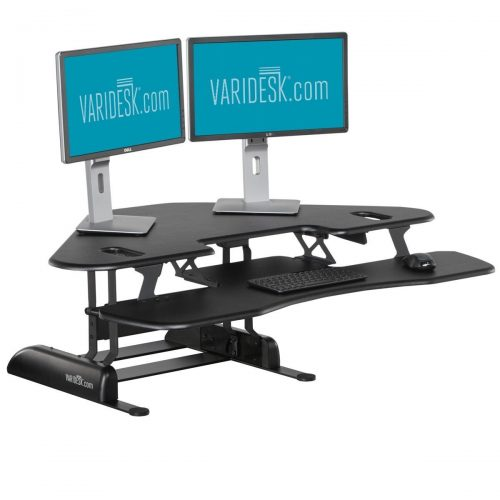 Height-Adjustable Standing Desk for Cubicles - VARIDESK Cube Corner 48 - Black