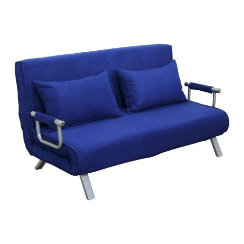 HomCom 61 Folding Futon Sleeper Couch Sofa Bed - Blue