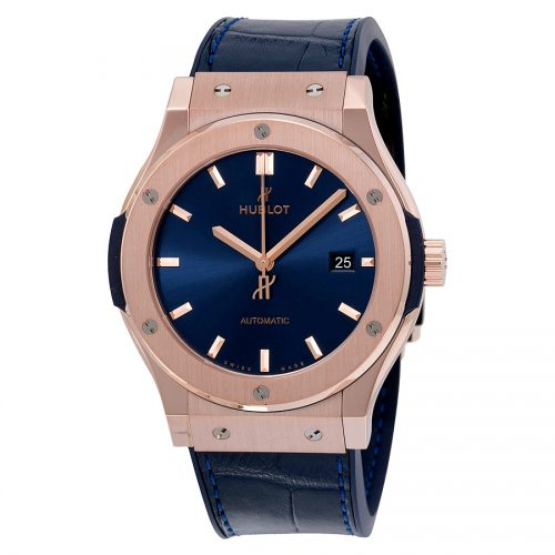 Hublot Classic Fusion Automatic Blue Sunray Dial 18kt Rose Gold Mens Watch 542.OX.7180.LR