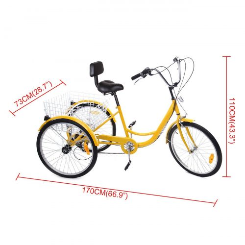 Iglobalbuy Yellow 24 6-Speed 3 Wheel Adult Bicycle Tricycle Trike Cruise Bike