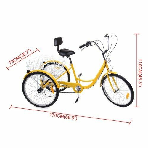 Iglobalbuy Yellow 24 6-Speed 3 Wheel Adult Bicycle Tricycle Trike Cruise Bike