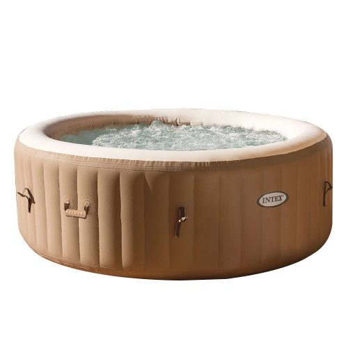Intex PureSpa Bubble Massage 4-Person Portable Hot Tub, Round, 77, Sahara Tan