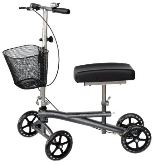 Knee Scooter Walker - wMost Sought Features -Silver - Removable Basket, Non-Scuff Wheels, Locking Brakes---and one just for fun---a Bell
