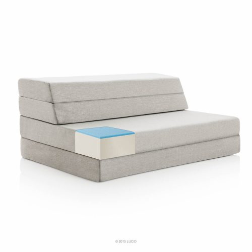 LUCID 4 Inch Folding Mattress and Sofa with Removable Indoor Outdoor Fabric Cover - Queen Size