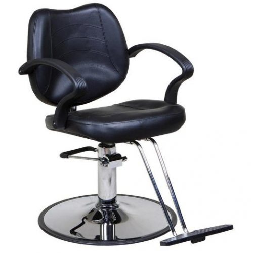 Mae Black Classic Salon Styling Chair, Round Base