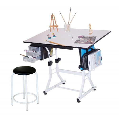 Martin Ashley Art-Hobby Table with Stool, White Top, 23-1.2-Inch by 35-1.2-Inch Size Surface