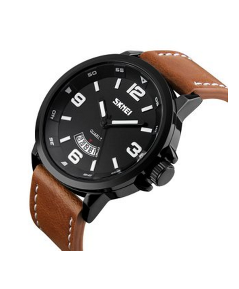Mens Unique Analog Quartz Waterproof Business Casual Wrist Dress Watch with PU Leather Band Strap, Key Scrath Resitant Face and Classic Design Calendar Date