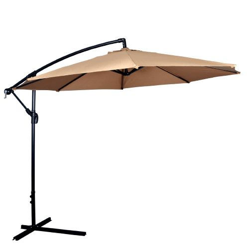 New Tan Patio Umbrella Offset 10' Hanging Umbrella Outdoor Market Umbrella D10
