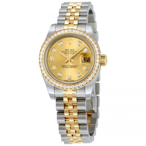 Rolex 18K yellow gold fluted bezel Day Just Ladies Watch